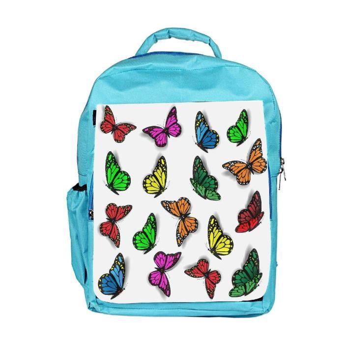 Eco Friendly Hommes toile colorée Papillons Sac à dos Rucksack école Voyage unisexe toile Casual HD7ED