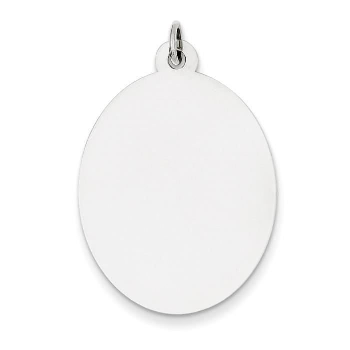 Argent Sterling Engraveable disque charme ovale