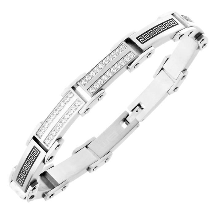 Iced Out Acier Inoxydable Micro Pave Bracelet - 10mm argent