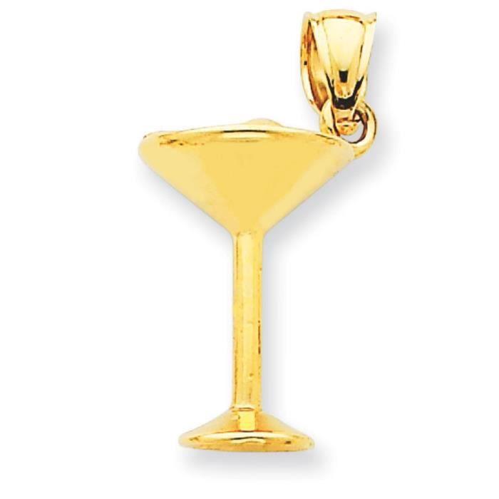 14 Carats Pendentif en forme de verre à Martini