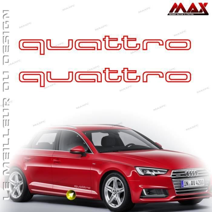 2 stickers quattro rouge 300x33mm audi a1 a3 a4 a5 a6 q3 q5 q7 tt rs autocollant adh sif bas. Black Bedroom Furniture Sets. Home Design Ideas