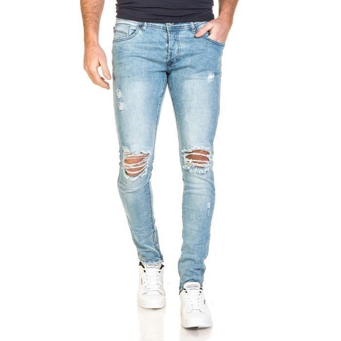 jeans bleu clair homme slim d chir aux genoux bleu bleu achat vente jeans cdiscount. Black Bedroom Furniture Sets. Home Design Ideas
