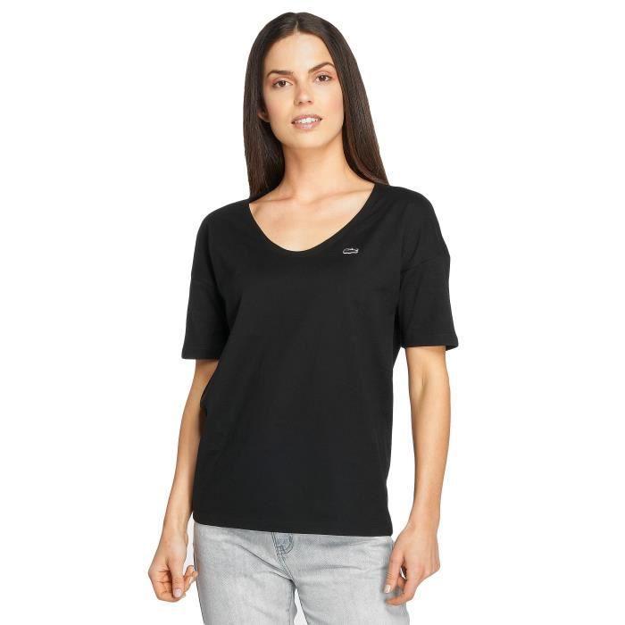 super populaire 04735 5be3f Lacoste Femme Hauts / T-Shirt Classic Noir Noir - Achat ...