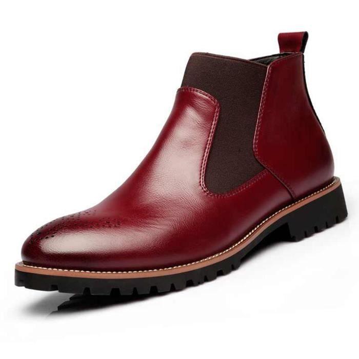 Homme Cuir Bottes Automne 46Rouge Ville 39 Bottines Chaussures De D'hiver Sculpté Chaussure Classic Martin Bullock YbfIm7y6gv