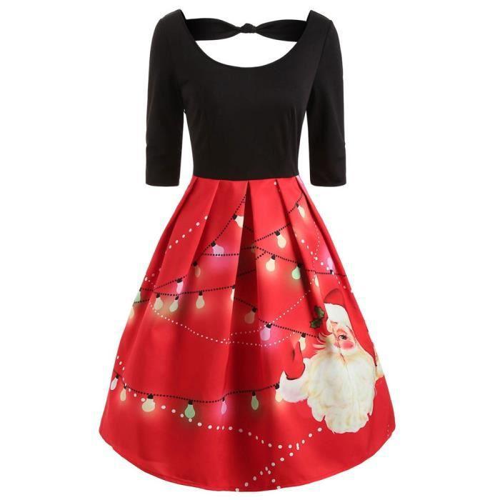 Femmes Mode manches mi-longues Noël Père Noël Imprimer Robe nouée Swing  Vintage HSW81115452RD rouge a33671a992b