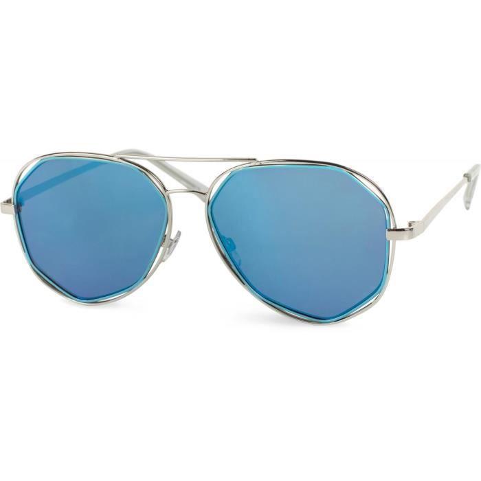 lunettes de soleil effet bicolore, lunettes aviateur avec verres anguleux et charnières à ressort, unisexe 09020068