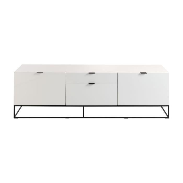 Meuble Tv 2 Portes 2 Tiroirs Laque Blanc Metal Onel L 180 X L 45