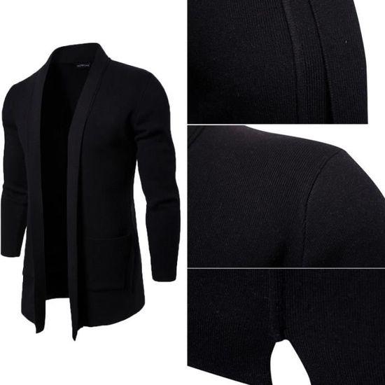 européenne américaine Noir homme gilet longues en et Cdiscount maille Vente Achat manches cardigan Noir Cardigan à Sweat shirt marée uOPZkXi