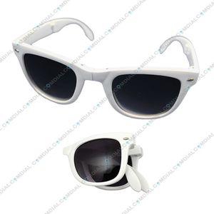 Wayfarer polarisées pliable Unisexe Lunettes de soleil, blanc/noir