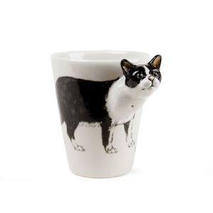 BOL - MUG - MAZAGRAN Tasse à Café British Shorthair Noir Et Blanc faite