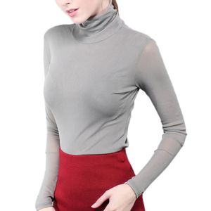 4b6a03104ee9e BIGOOD Femme Tulle Pull Manches Longues Col Montant Amincissant Gris ...