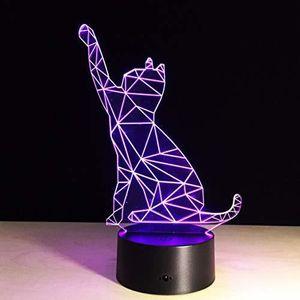 LAMPE A POSER Maison 7 CouleurChat Lampe 3D Visual Led Veille