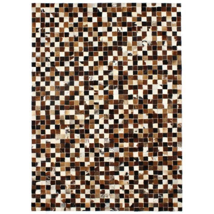 PATCHWORK Tapis de salon - Cuir - 160x230 cm - Motif carrés - Marron, blanc et noir