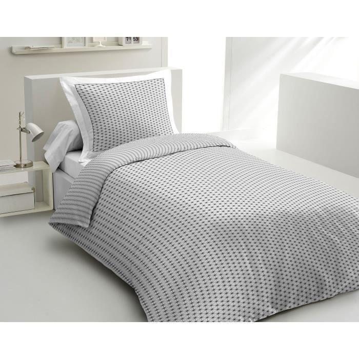 Matière : 100% coton 57 fils - Dimensions : 140x200/ 65x65 cm - Coloris : blanc et grisPARURE DE COUETTE