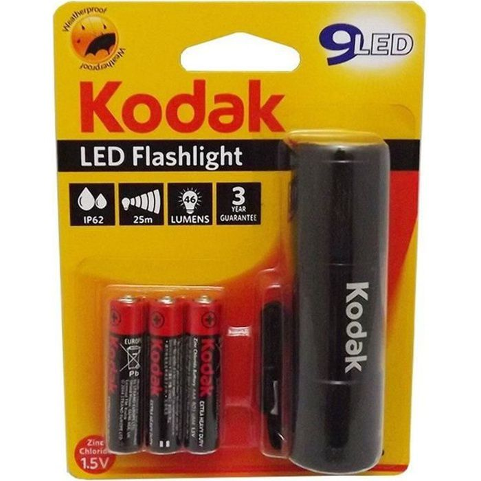 KODAK Lampe torche 9-LED flashlight + 3 Piles LR03/AAA EHD - Noir