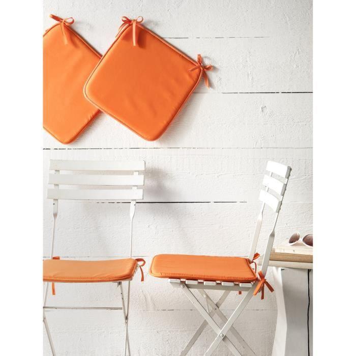 TODAY Lot de 4 galettes de chaise 38 cm mandarine