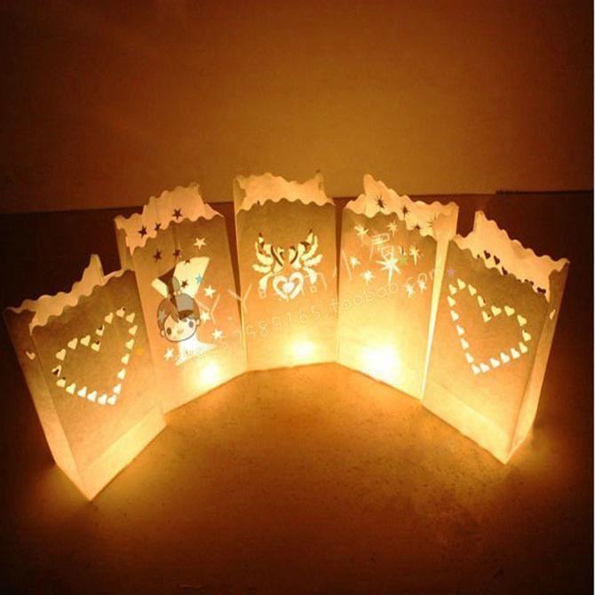 10pcs Lumière Porte Lampion Sac bougie pour Noël Décoration  ZSY51107066 1904 blanc 52e918aeaadc