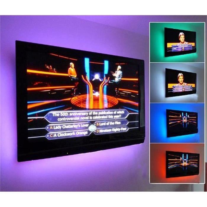 Ip65 5v Décoration Derrière Usb Avec Pour Pour Tv Bandes Led Facile installation Alimenté Aukur ordinateur Par 2x50cm Adhésif QeCorBxdW
