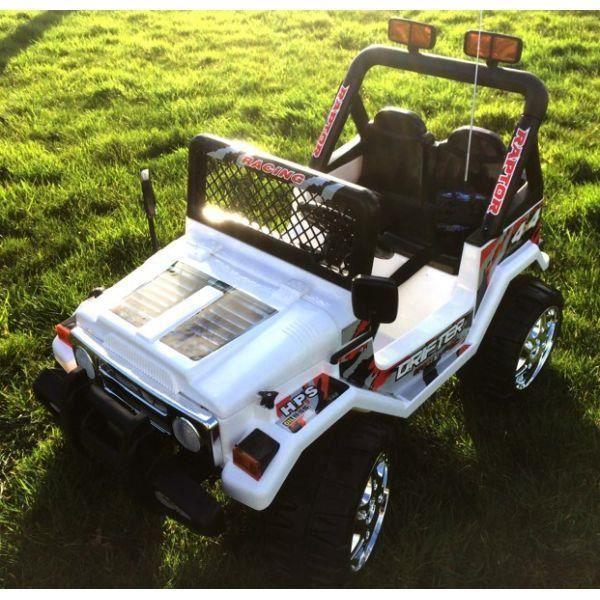 voiture électrique 2 places 12v jeep raptor blanche - achat