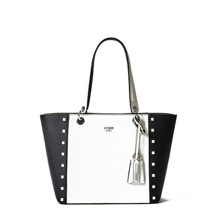 fed6ec5ca8 Guess Sac Cabas Femme WB669123 KAMRYN Noir et Blanc - Achat / Vente ...