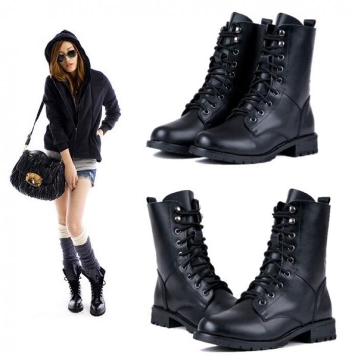 Militaires courtes Bottes Chaussures bottes de cuir Mode féminine qlvB2rSNY