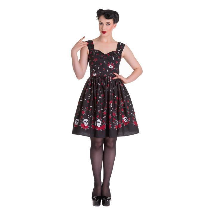 0bea274c04e Robe noire à bretelle avec motif roses rouges et crâne pinup gothique Hell  Bunny