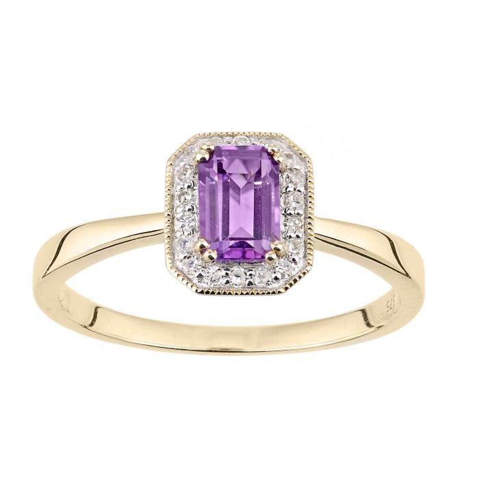 Revoni - Bague rectangulaire en or jaune 9 carats, diamants et améthystes