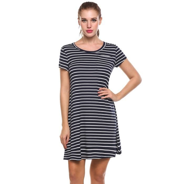 Robe Femmes rayé Casual manches courtes