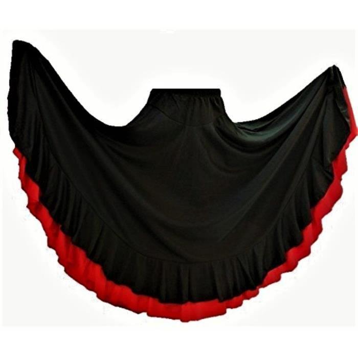 d8b29da17e62c Jupe flamenco noir rouge pour fille à 2 volants Noir Noir-rouge ...