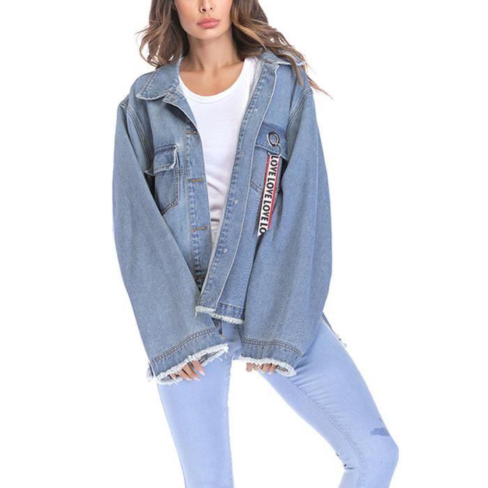 183021a61745a L Denim Boyfriend Veste Déchiré Printemps Casual Femme Bleu Oversize Grande  Jacket automne Taille Jean En ...