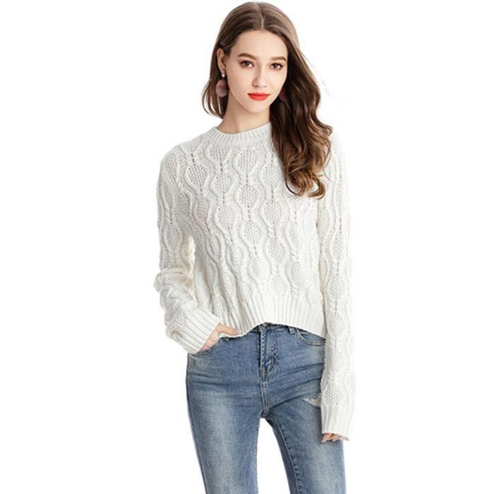 good buying cheap so cheap Pull Femme en Maille Torsadé Court Lache Couleur Unie Col Rond Manches  Longues