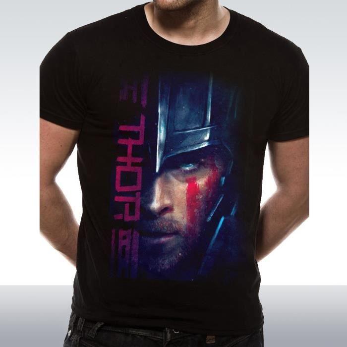 Thor Ragnarok Hemsworth Visage Script Hulk Loki T-shirt Noir