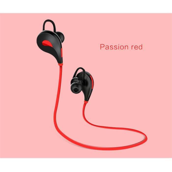 Oem - Ecouteurs Bluetooth Sport Pour Alcatel 3c Smartphone Sans Fil Bouton Son Kit Main Libre Intra Auricu Couleur:rouge