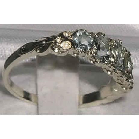 Bague pour Femme en Or blanc 9 carats 375-1000 sertie d Aigue-marine- Tailles 50 à 64