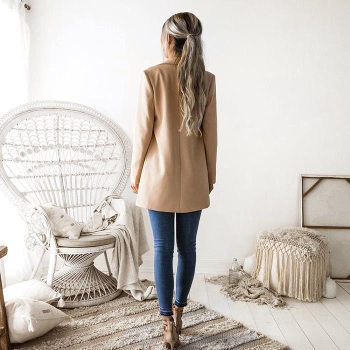 Veste Casual Manches Outwear Femmes Pour Blazer zf7687 Deuxsuns®les Longues Manteau Cardigan Costume gw68fq