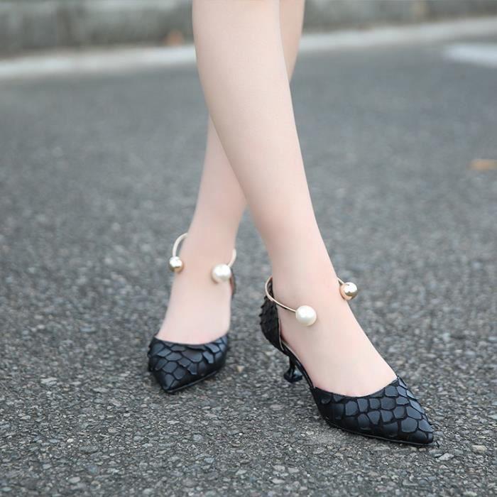Chaussures Point rose de Escarpins noires Chaussures talons Toe Sexy métal Belle Patent Leahter perle 37 Hauts Sandales femme Talons qawFnETf