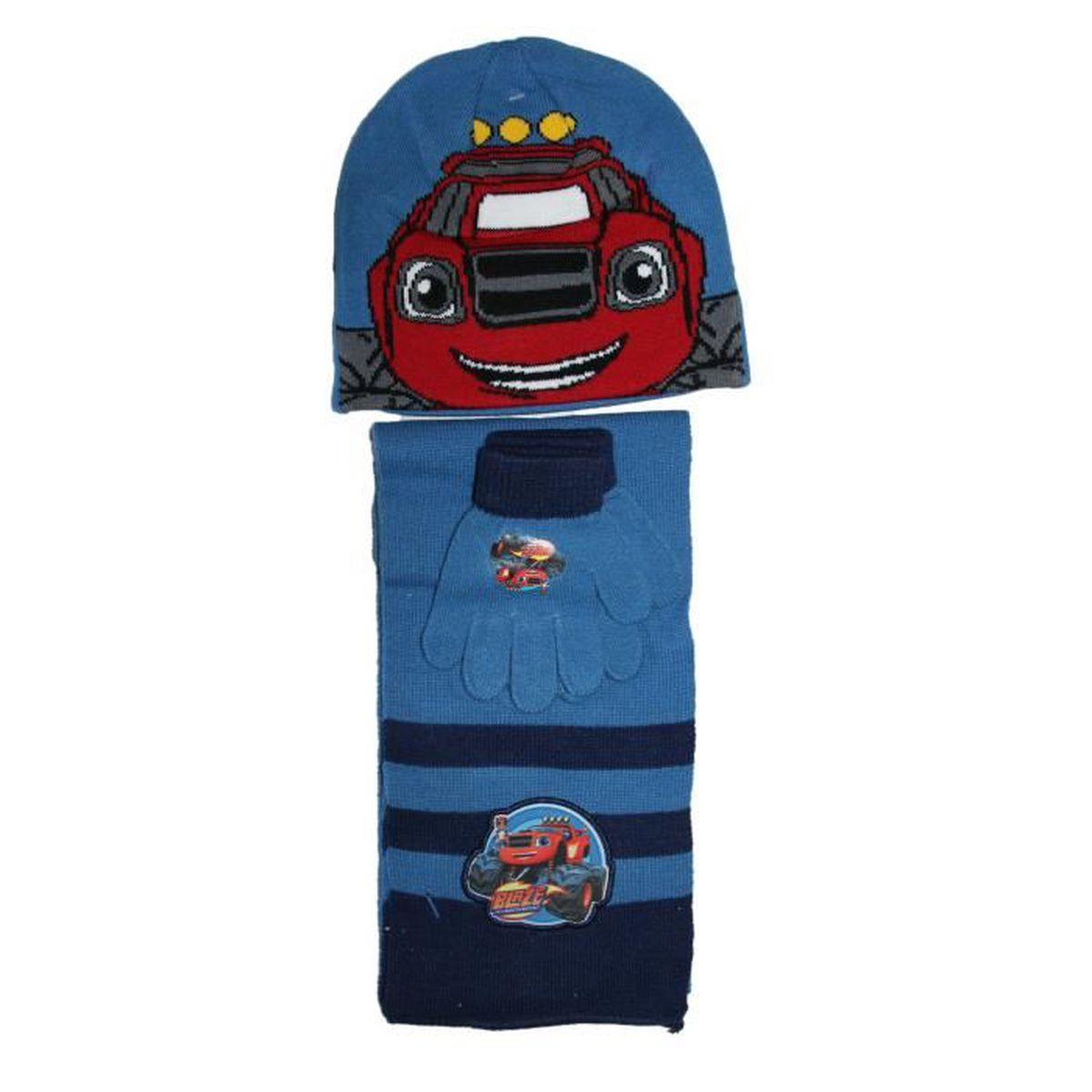 Ensemble bonnet gants écharpe blaze et les monster machines bleu ... 673f1fd2290