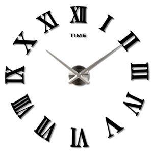 Chiffre Romain 4 chiffres romains sans cadre horloge murale de surface de miroir home