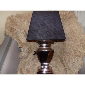 LAMPE A POSER LAMPE A POSER PIED CERAMIQUE CHROME ET ABAT JOUR R