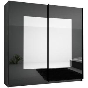 ARMOIRE DE CHAMBRE Armoire design 250 cm noir laqué à 2 portes coulis