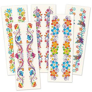 TATOO - BIJOU DE CORPS Lot de 6 Tatouages Poignet - Motif Fleurs à paille