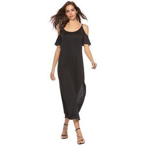 89bfdca70593 ROBE Femmes Maxi robe à manches longues à épaules dénud