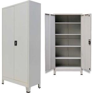 ARMOIRE DE BUREAU vidaXL Armoire de bureau avec 2 portes Acier 90 x