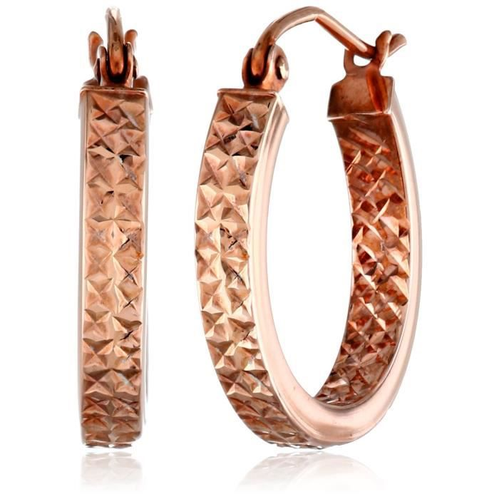 Craze 10k Rose Gold In And Out Diamond-cut 3mm Flat Hoop Earrings PTTAY