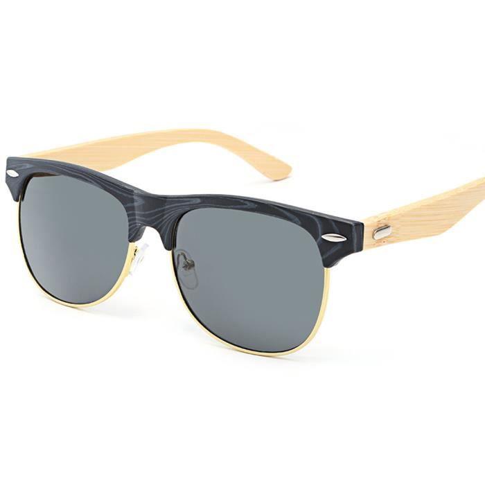 Deuxsuns®Lunettes de soleil en bambou pour hommes Femmes Lunettes de soleil Lunettes de voyage Pied Lunettes en bois C@zf933