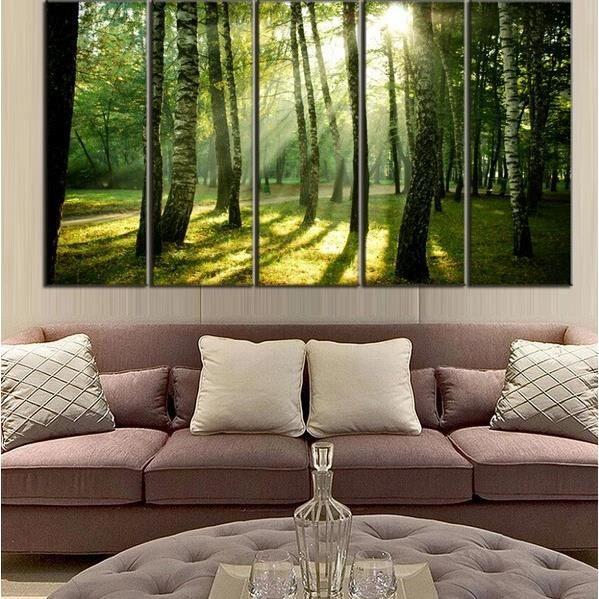 5 Panneaux Imprimés Peinture Toile Bois Vert Forêt Paysage Art Mur