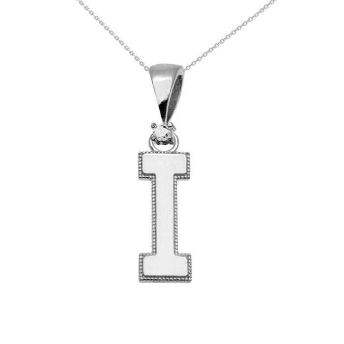 Collier Femme Pendentif 10 Ct Or Blanc Poli Élevé Milgrain Solitaire Diamant I Initiale (Livré avec une 45cm Chaîne)