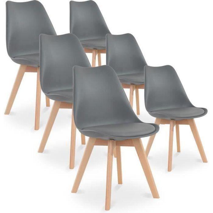 CHAISE Lot de 6 chaises CATHERINA - Coloris : gris - Styl