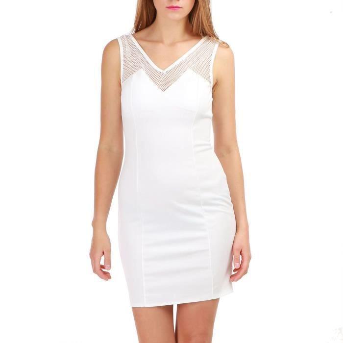 74657b1f7ac La Modeuse - Robe moulante sans manches Blanc Blanc - Achat   Vente ...