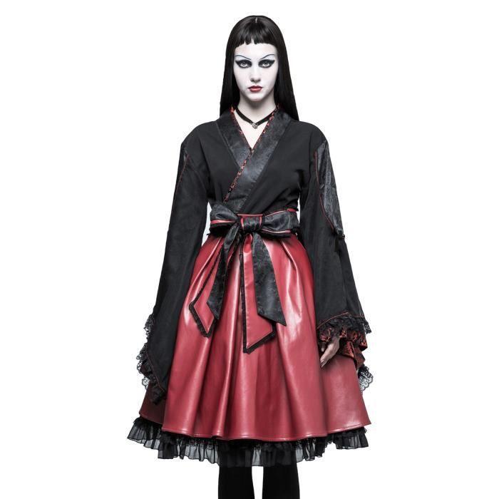 f4fd39f9ded8 Kimono noir et cuir vegan rouge inspiration japonaise avec ceinture obi et  noeud